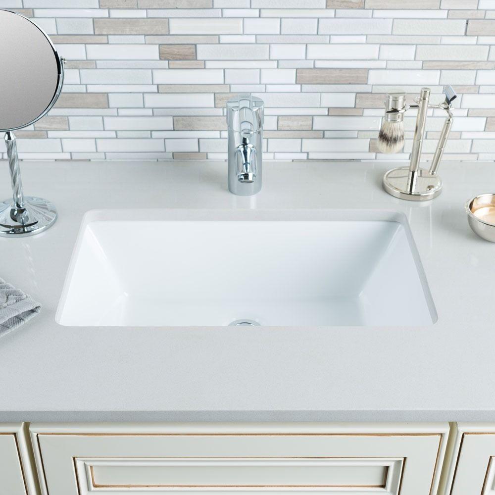 Hahn Ceramic Medium Rectangular Bowl Undermount White Bathroom Sink ...