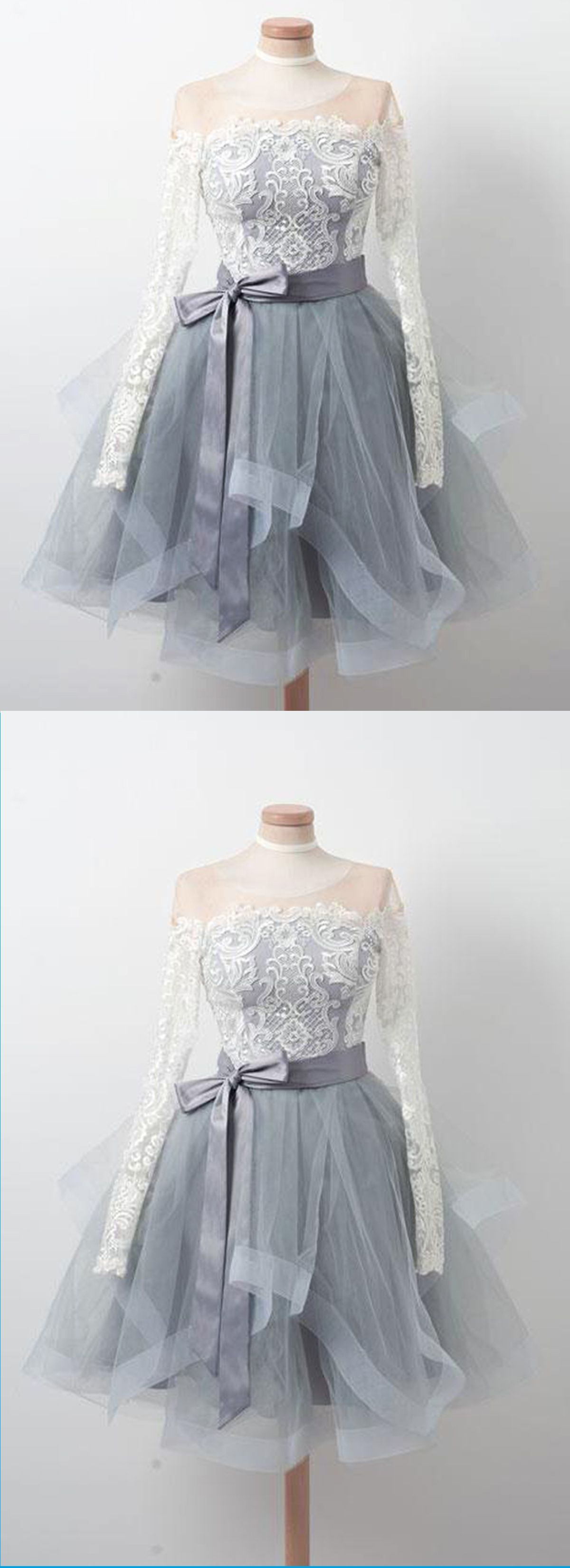 Gray tulle short ruffles prom dress with long sleeves short lace