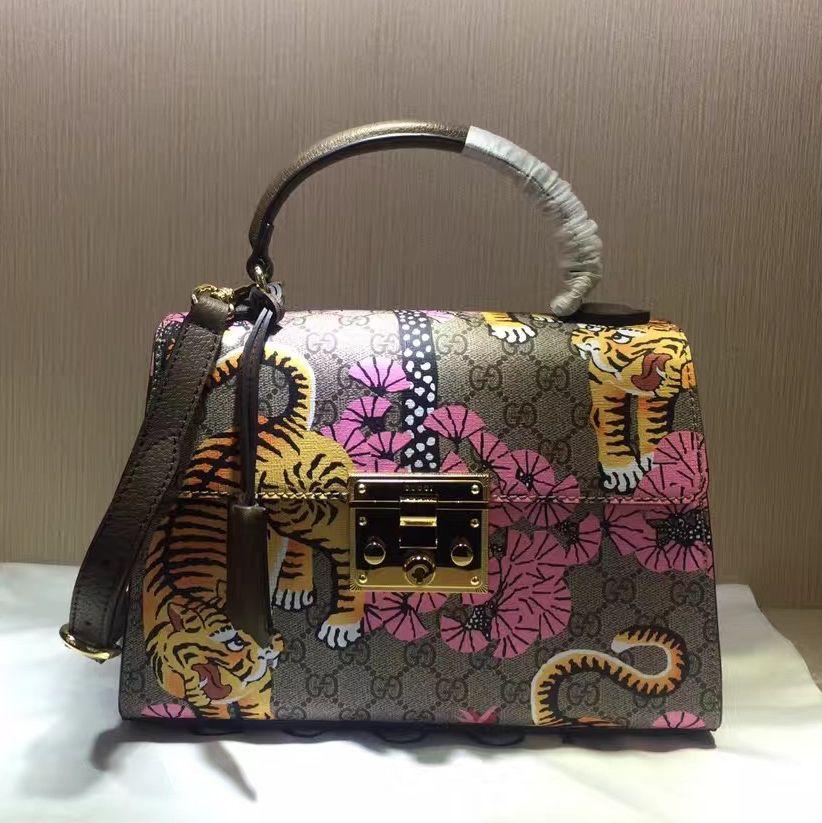 df34ca3df183 Gucci Padlock Bengal GG Supreme Top Handle Bag