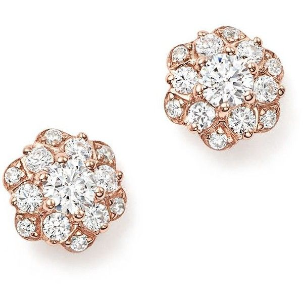Bloomingdales Diamond Flower Stud Earrings in 14K Rose Gold 050