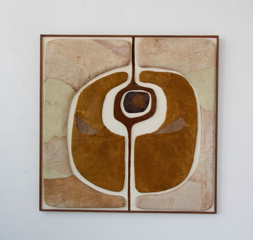 Abstract leather suede mid century modern frame wall art collectors