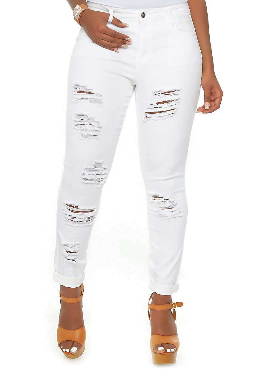 Rainbow Shops Plus Size White Distressed Skinny Jeans $29.99 ...