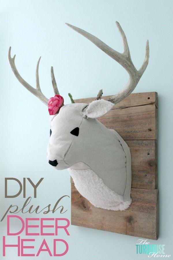 Diy plush deer head cosas telas manualidades y bricolaje - Cabezas animales tela ...