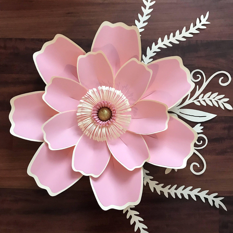 Diy paper flower wedding decorations  PDF Petal  Paper Flower Template with Base DIGITAL Version