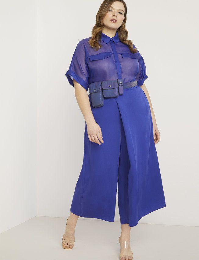 Priscilla Ono x ELOQUII Cross Front Crop Pant - Subzero Blue