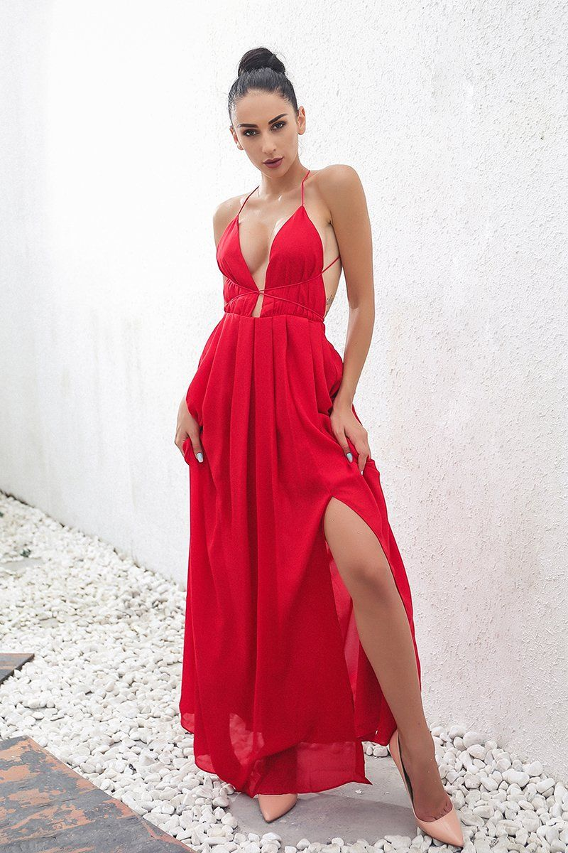 01973fe407 Lady in red elegant backless maxi dress in 2019
