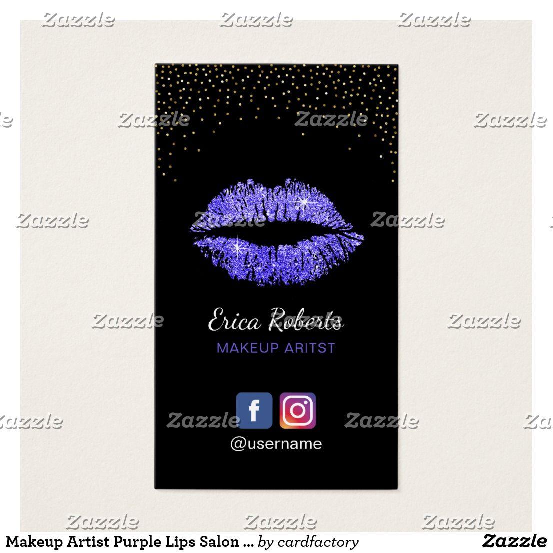 Makeup artist purple lips salon social media business card makeup artist purple lips salon social media business card magicingreecefo Images