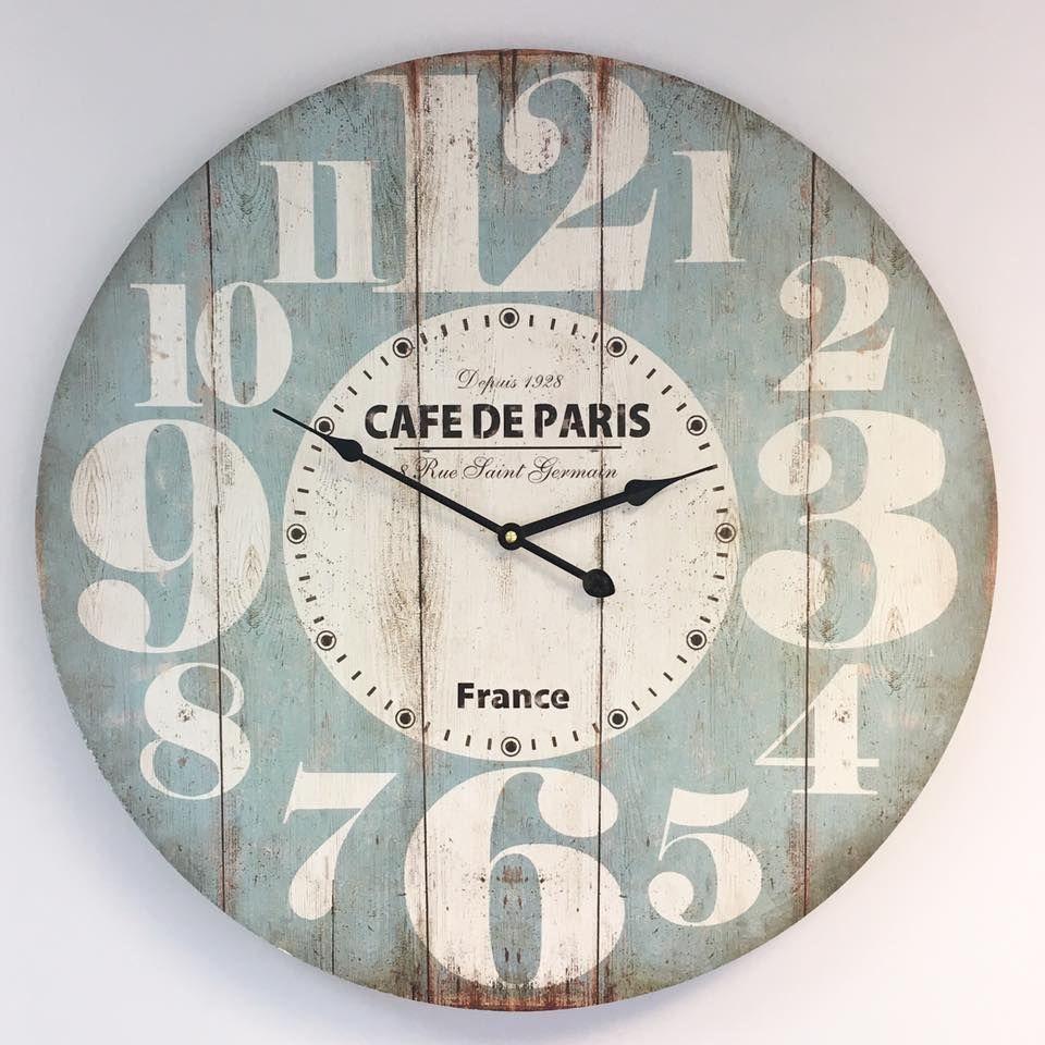 Huge Duck Egg Blue Paris Wall Clock