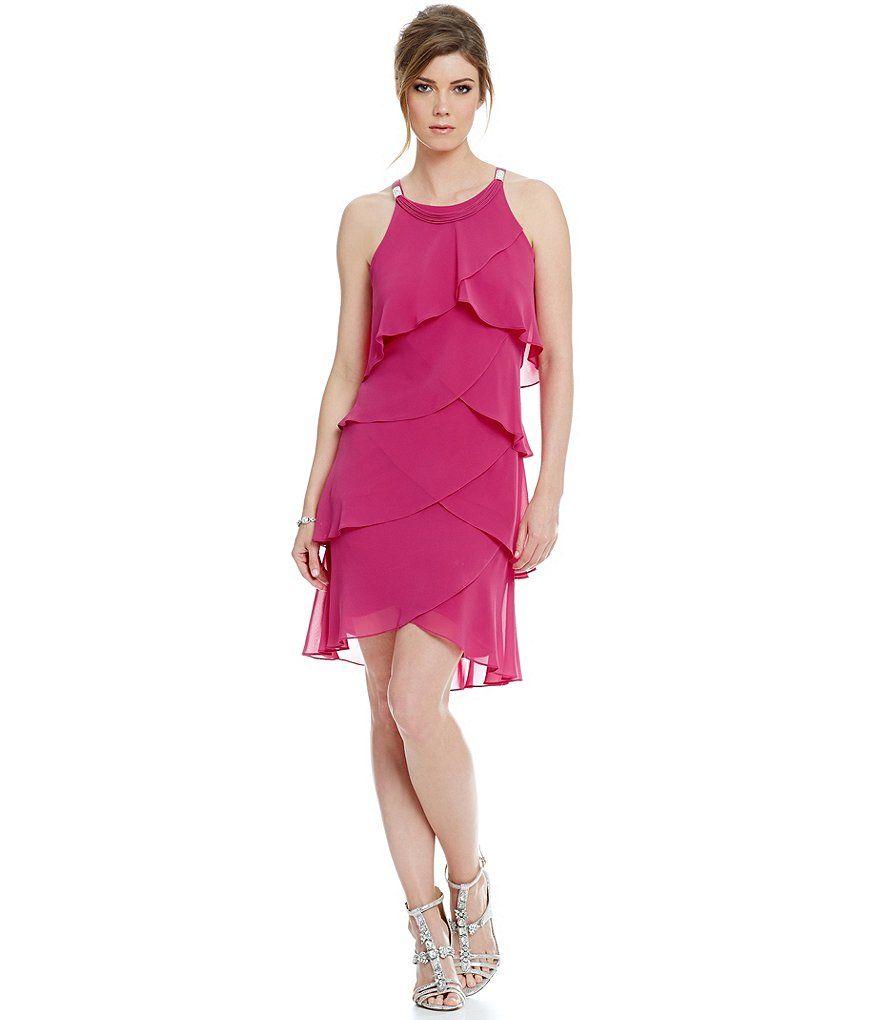 Sl sl fashion dresses - S L Fashions Chiffon Tulip Tier Sheath Dress