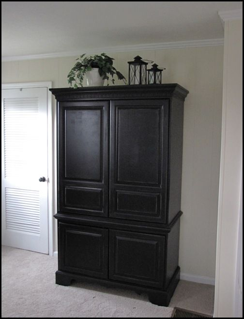 Armoire Redo Using Valspar Paint In Black Satin To It