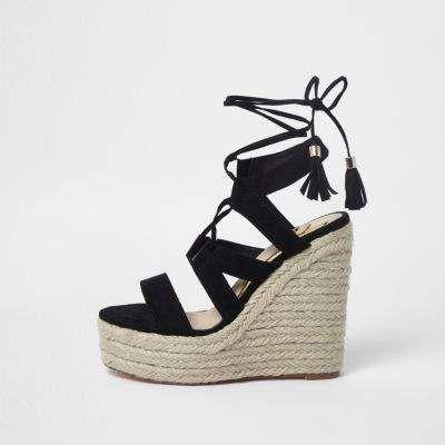 696c7a19d7e Black lace-up espadrille wedges sandals - Sandals - Shoes & Boots ...