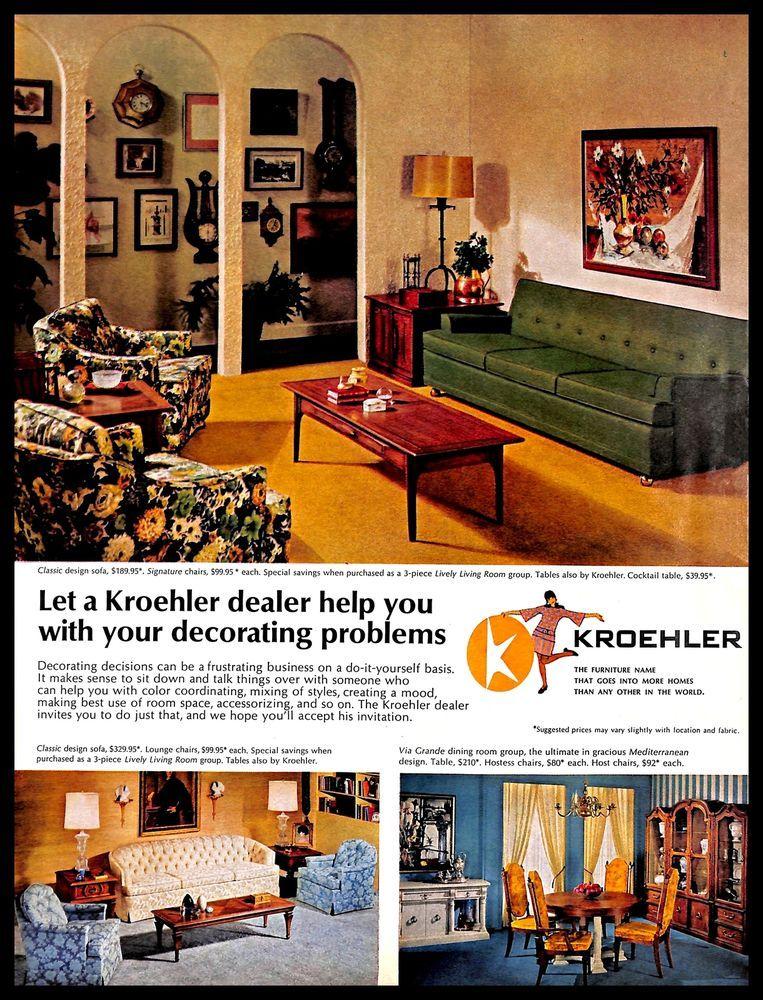 1967 Kroehler Furniture Vintage Print Ad Room Interior Decorating Homedecor Kroehler 1960s Living Room 1960s Furniture Furniture
