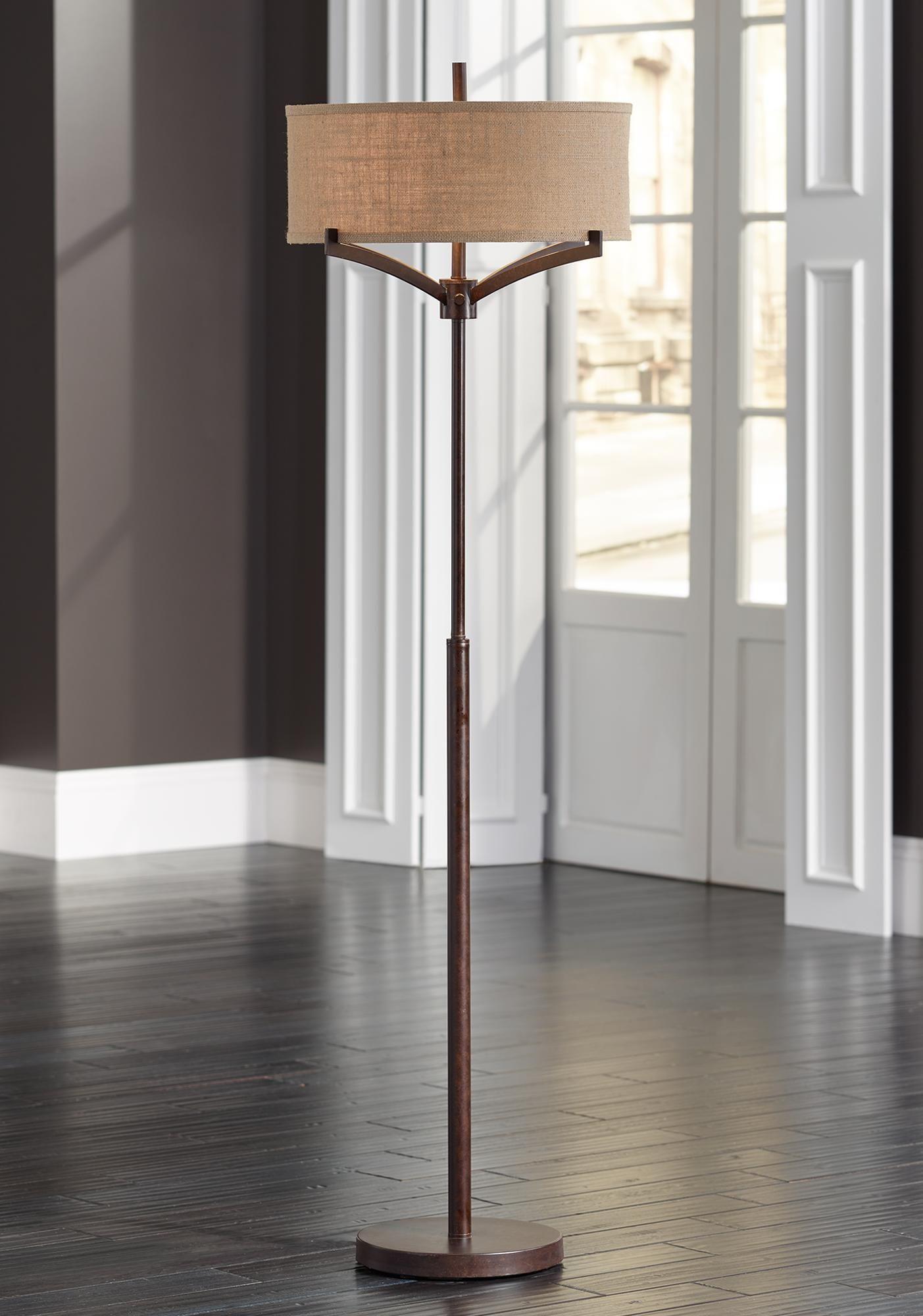 Franklin Iron Works Tremont Floor Lamp With Burlap Shade Modern Floor Lamp Design Modern