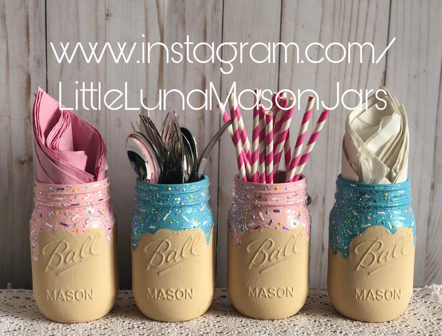 Gender reveal ice cream party, set of 4 pint sized jars, pink & blue ice cream jars, birthday party decor, desert table centerpiece #icecreambirthdayparty
