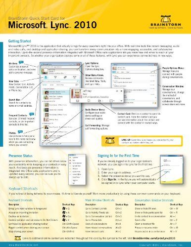 microsoft lync 2010 quick start reference card 6 page tri fold tips rh pinterest com Microsoft Quick Source Guides microsoft lync 2013 quick reference guides