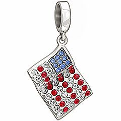 American Flag 2025 0965 A Waving Silver Flag With Freedom Engraved On The Back Encrusted With Red White And Blue Crystals That Form The Patter With Images Flag Charm