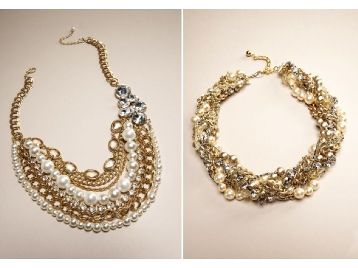 stunning gold pearl and rhinestone statement wedding necklaces