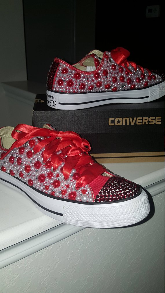 862a8ddb1551 Red White Candy Converse Bling Sneakers in 2019