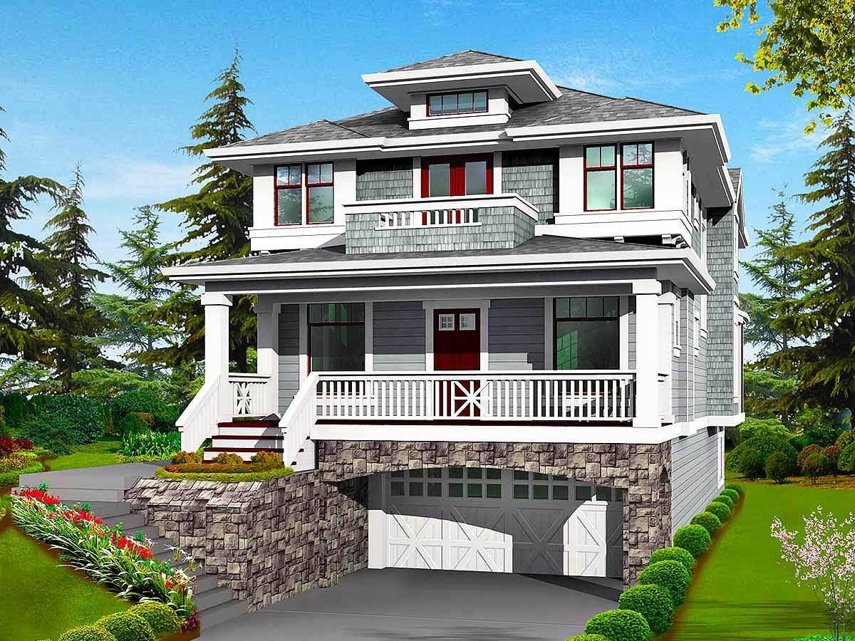 Plan 23037jd Classic Craftsman Styling With Drive Under Garage House With Balcony Craftsman Style House Plans Prairie Style Houses
