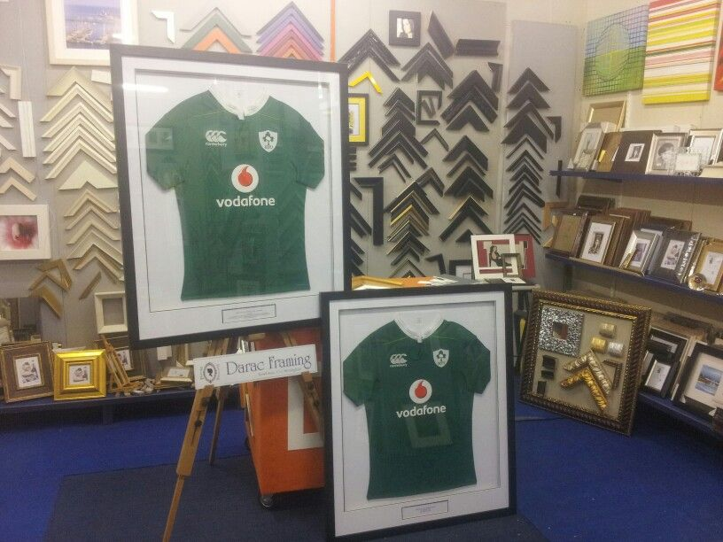 b017a5cb76fe8 Irish Rugby team jerseys, signed by team and manager, framed by ...