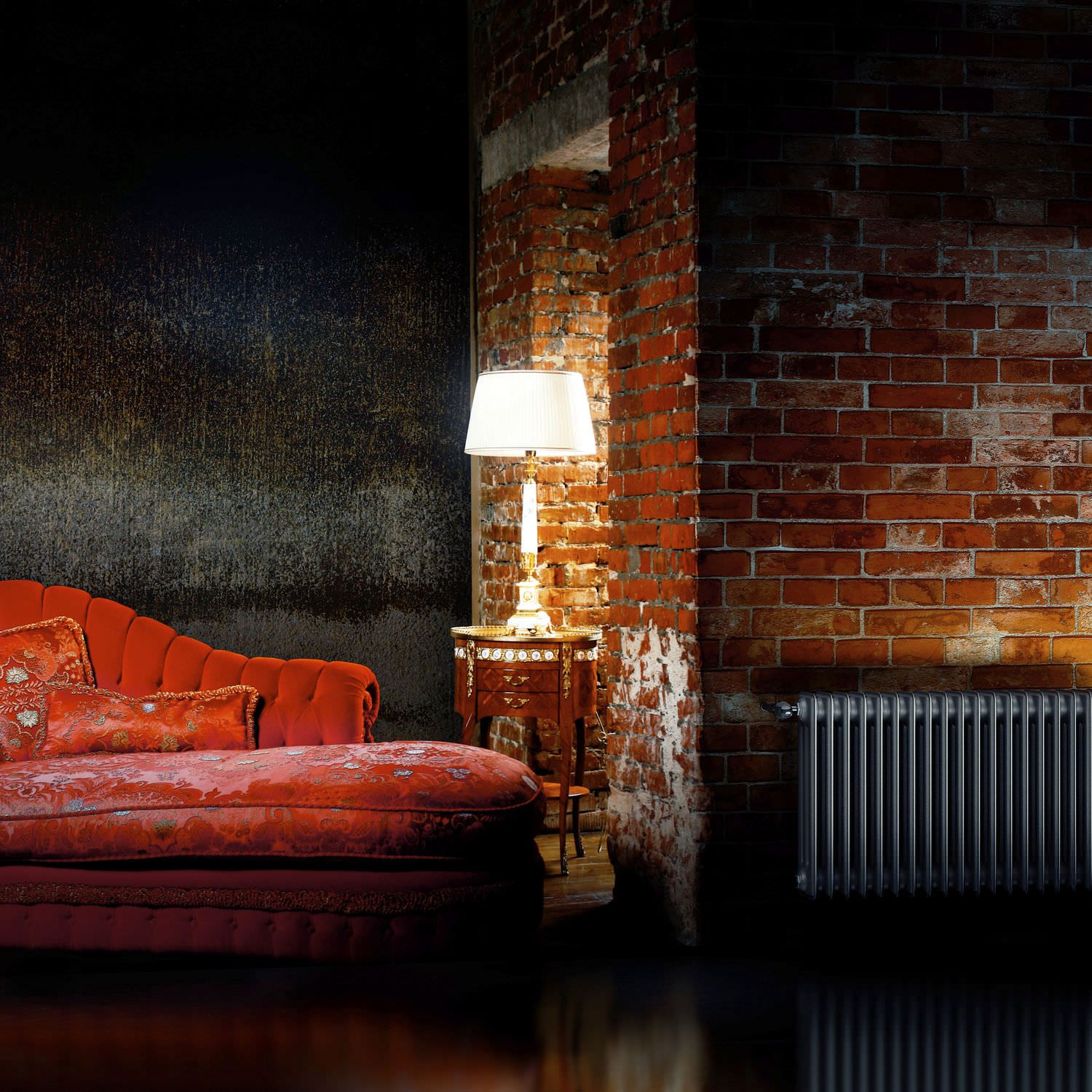 anthracite vintage cast iron radiator against bare brick wall with a red antique sofa chaise. Black Bedroom Furniture Sets. Home Design Ideas