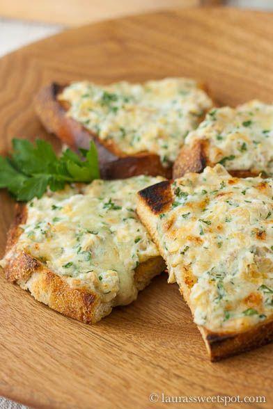Goat Cheese and Gruyere Artichoke Toasts