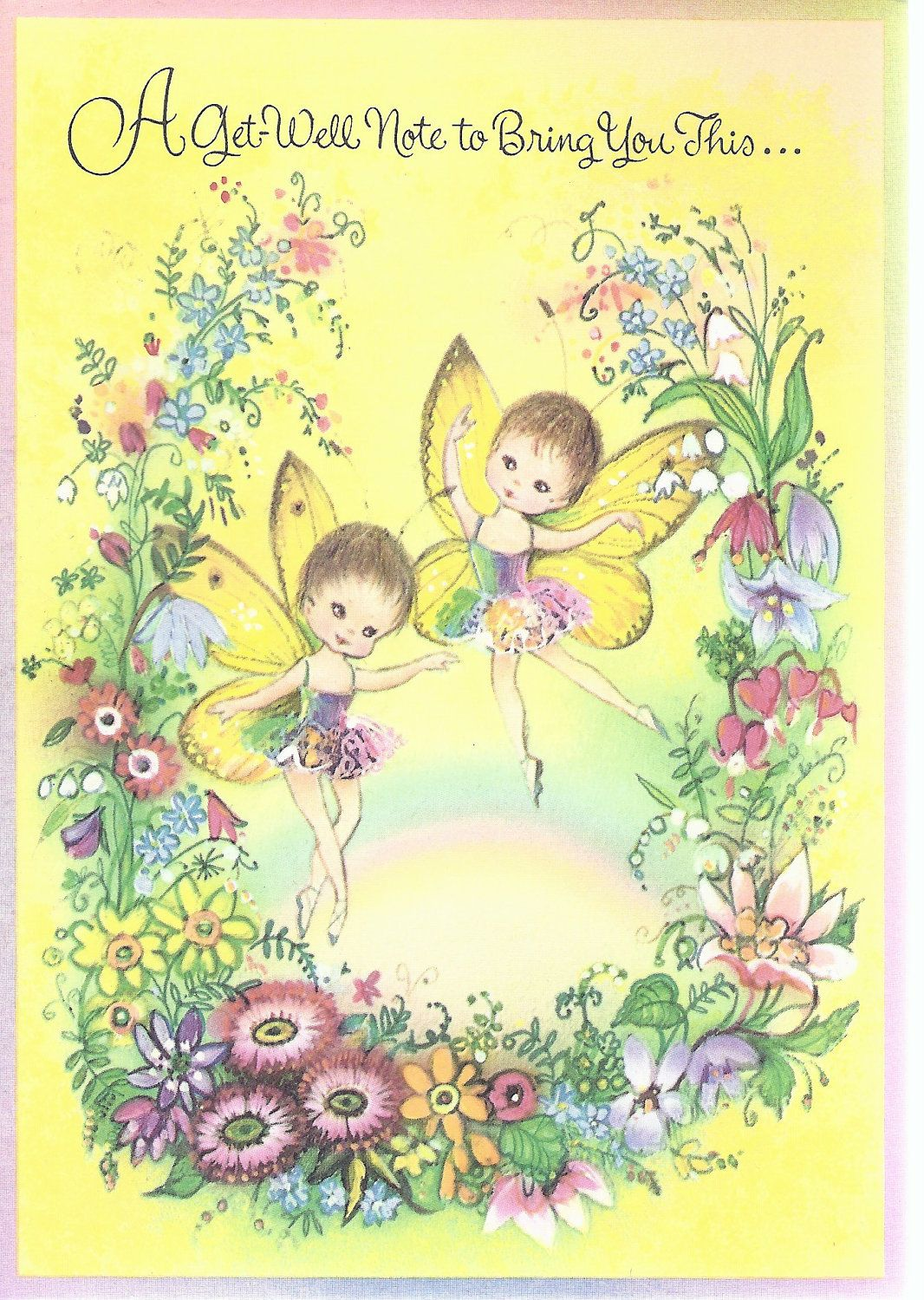 M181 Vintage Get Well Greeting Card By Norcross Fairies Floral