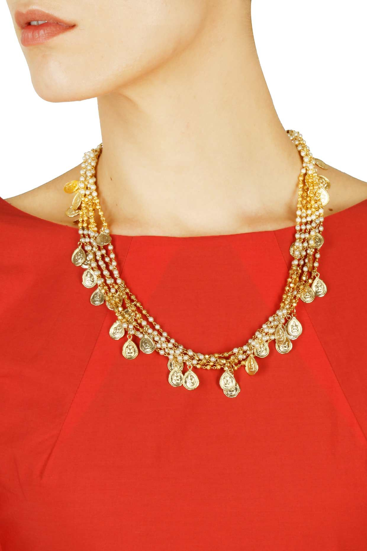Gold finish carved coin hanging necklace available only at perniaus