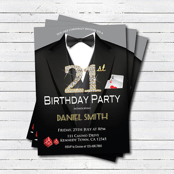 Casino 21st birthday invitation adult man birthday party invitation casino 21st birthday invitation adult man birthday party invitation las vegas suit black tie gala filmwisefo