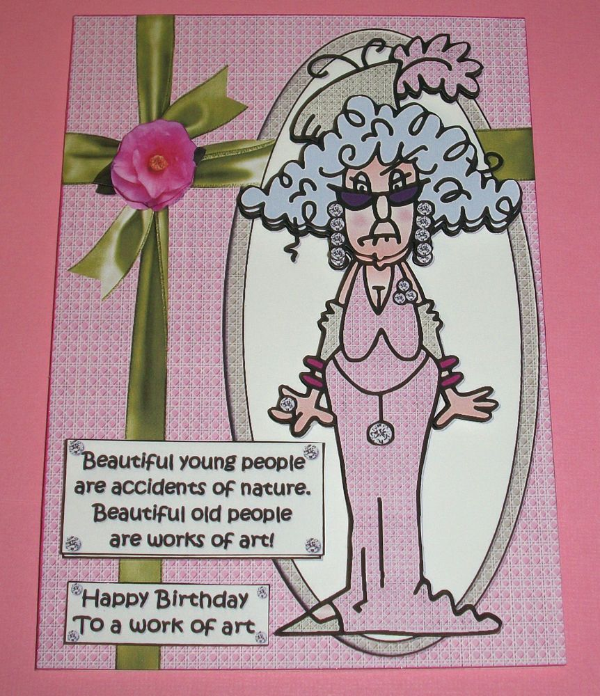 Handmade Greeting Card 3D Humorous Birthday With An Older Lady