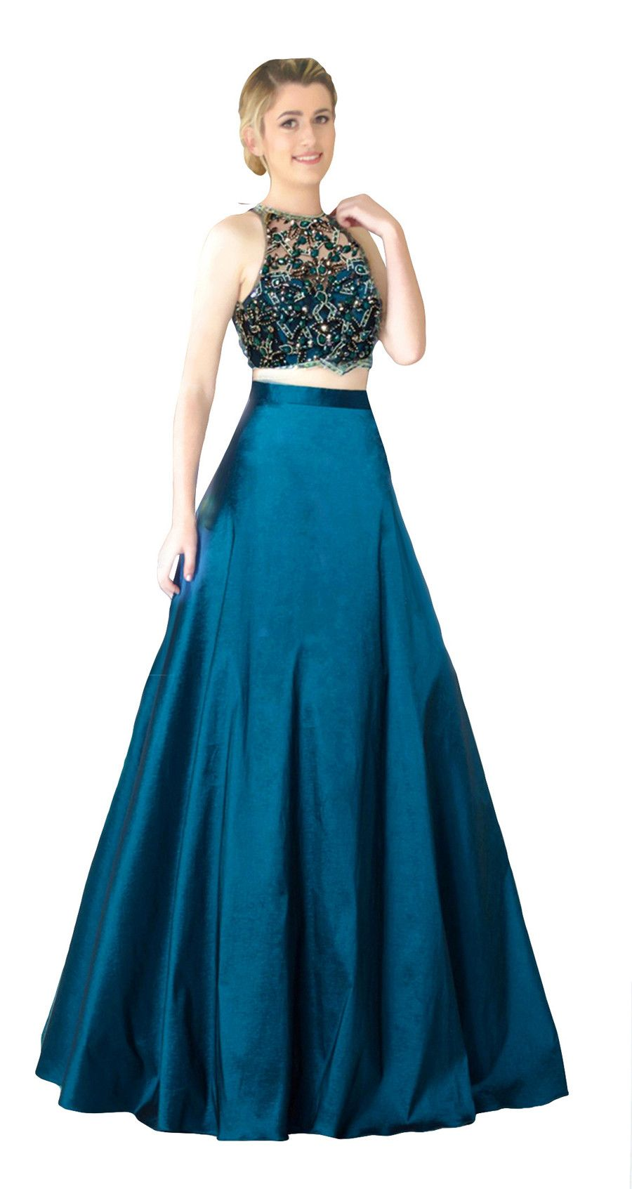 Miracle Agency Australian Designer Teal 5059 Two Piece Gown ...