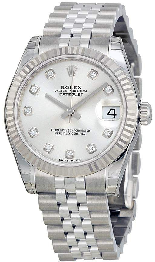 c9d025026160 Rolex Datejust Lady 31 Silver With 11 Diamonds Dial Stainless Steel Jubilee Bracelet  Automatic Watch