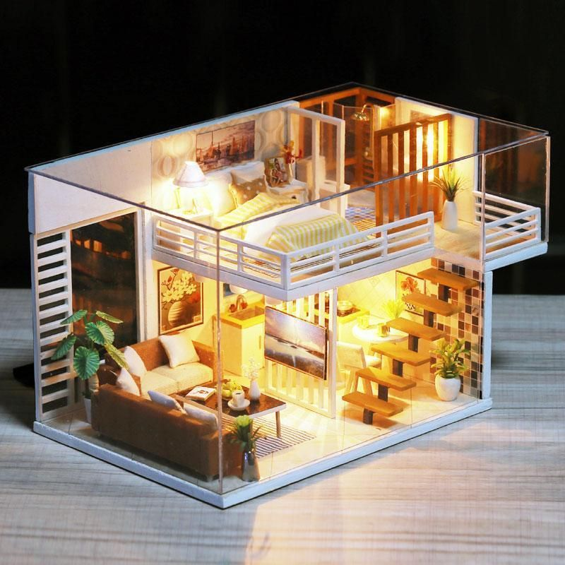 CASA DE MUÑECAS Doll House Miniature DIY Dollhouse With Furnitures Wooden House