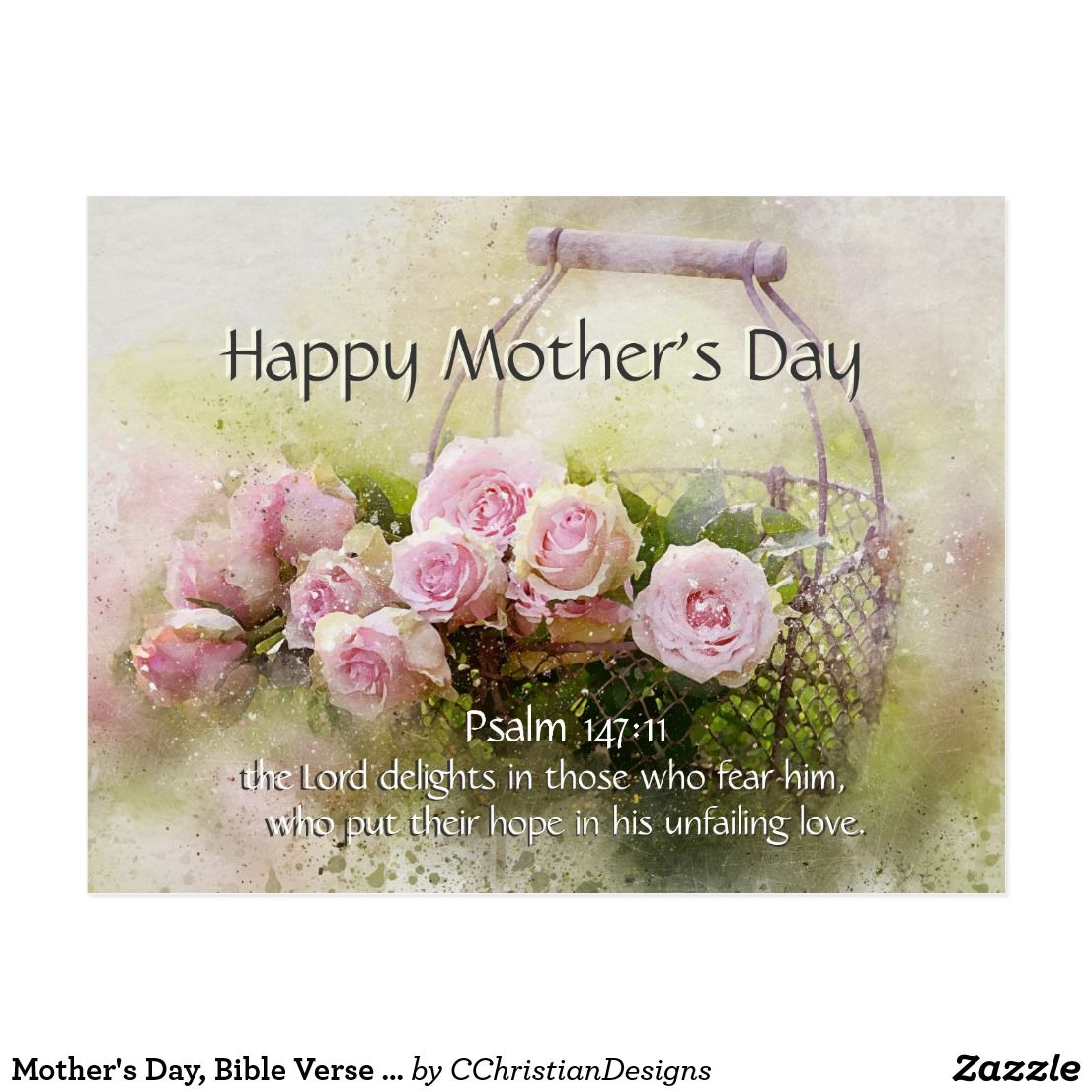 Mother S Day Bible Verse Psalm 147 11 Pink Roses Postcard Zazzle Com Happy Mother Day Quotes Mothers Day Bible Verse Mothers Day Verses