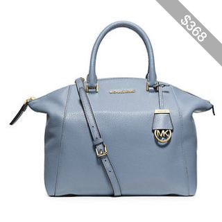 Michael Kors Riley Large Pebbled-Leather Satchel Handbag