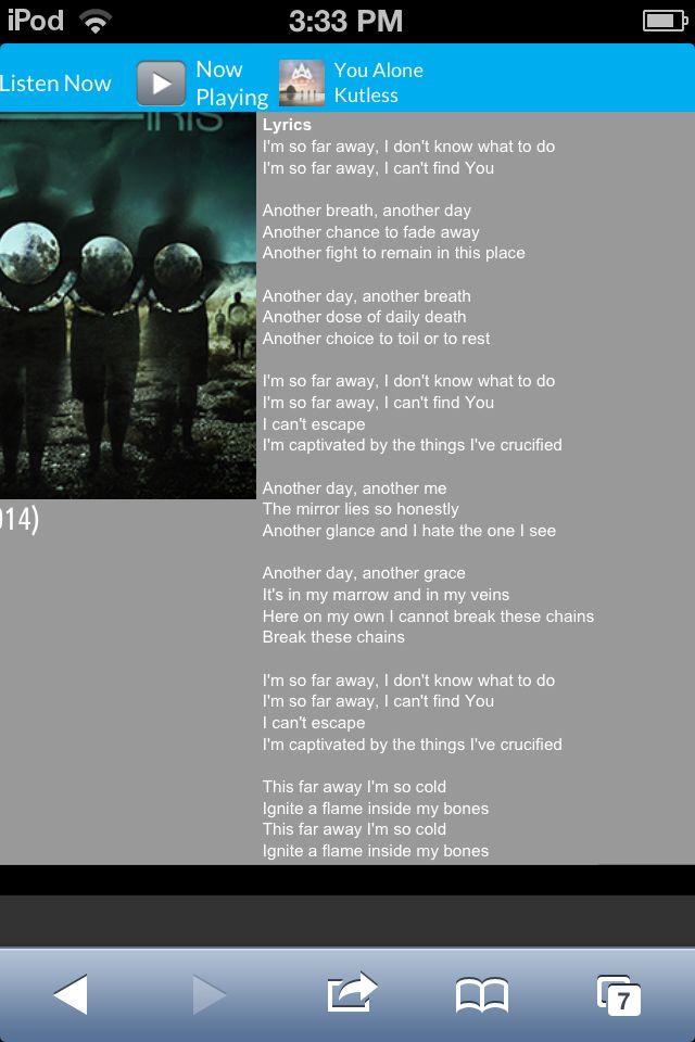 Lyric song finder using lyrics : Far Away
