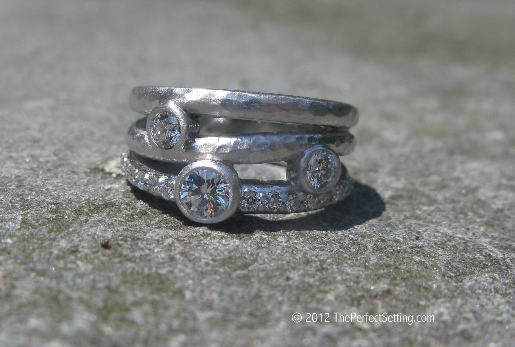 Custom made rustic diamond engagement ring bling and baubles