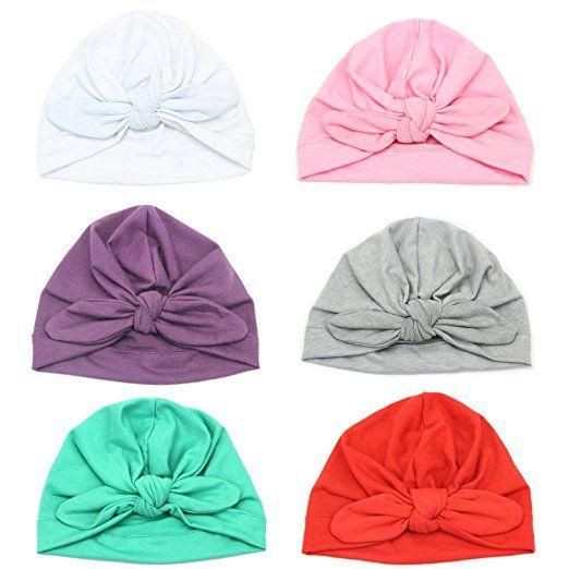 b1cf3b6ae2a Amazon.com Elesa Miracle 6pc Baby Hat Turban Knot Newborn Hospital Hat  Bohemia Photography Prop Baby Hat Beanies Cap Value Set (6pc- Pure Bow)   baby ...
