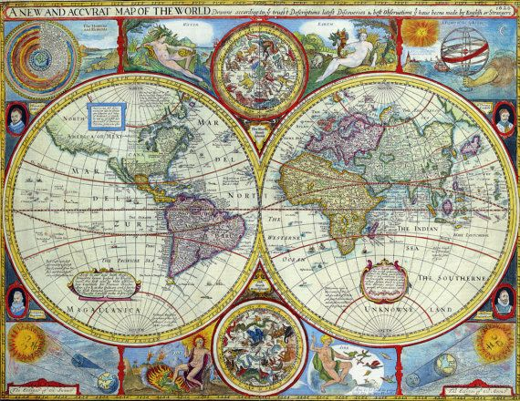 World map print , World map, Old maps, 168 - new antique world map images
