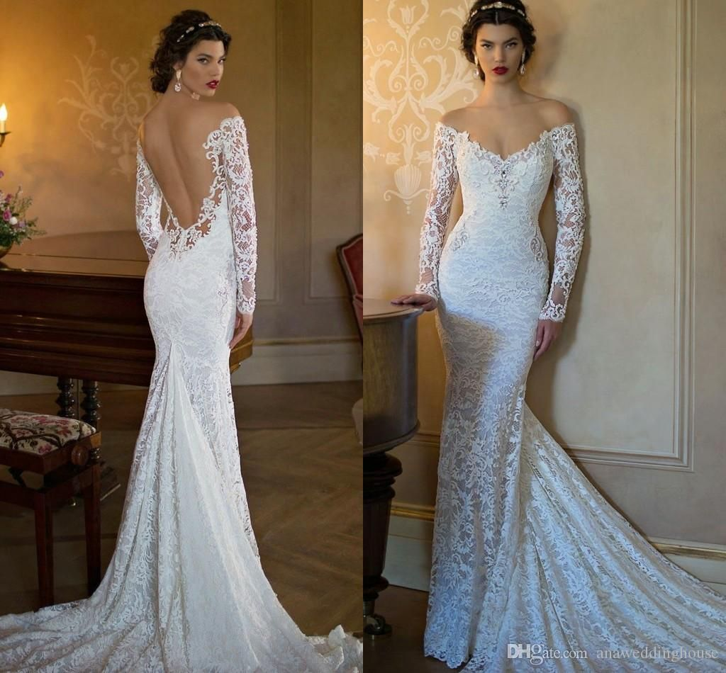 Romantic-lace-mermaid-wedding-dress-off-shoulder