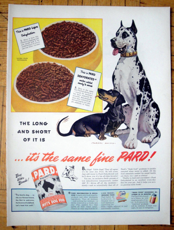 1944 Pard Dog Food Great Dane Dachshund Dog Food Original 13 5