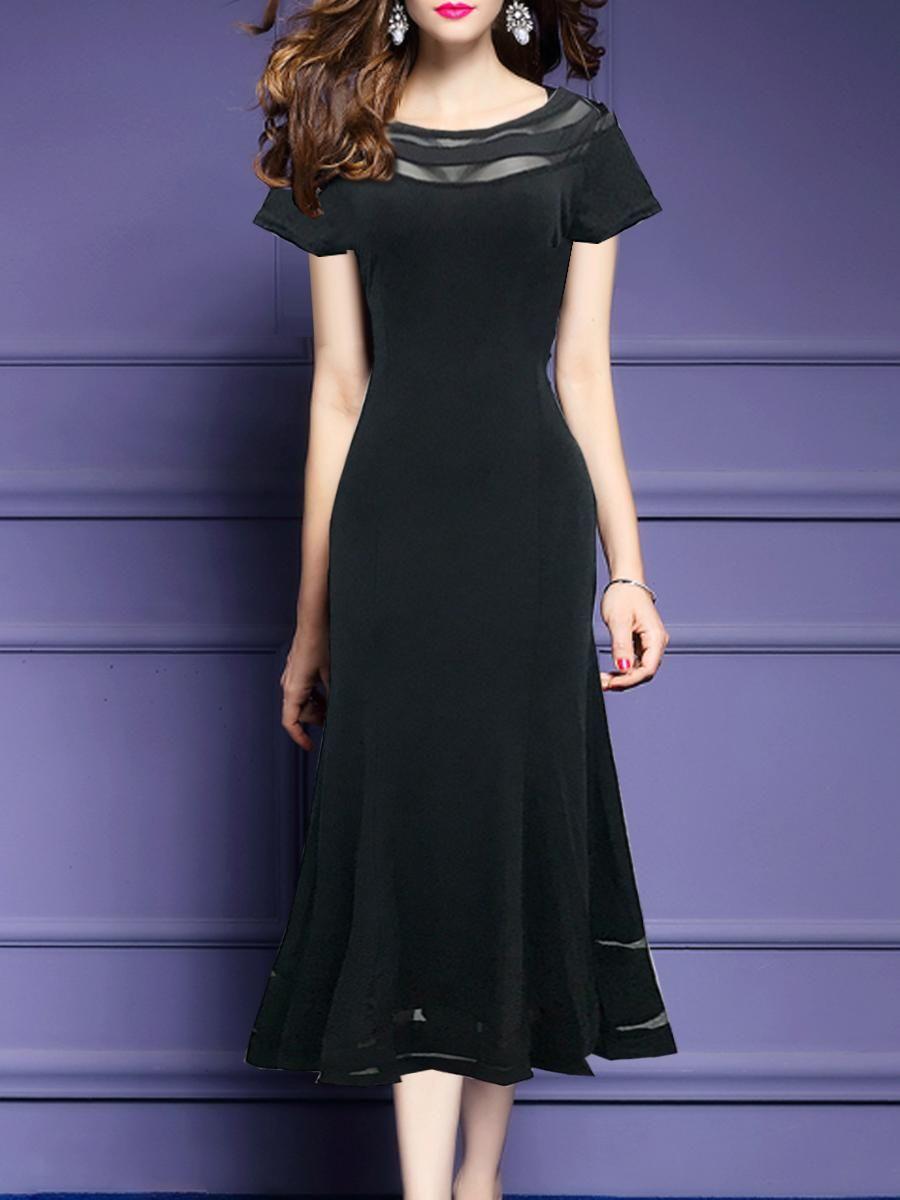 1f6f6b2d01 #EnvyWe #BerryLook - #berrylook Round Neck Patchwork Plain Bodycon Dress -  EnvyWe.com