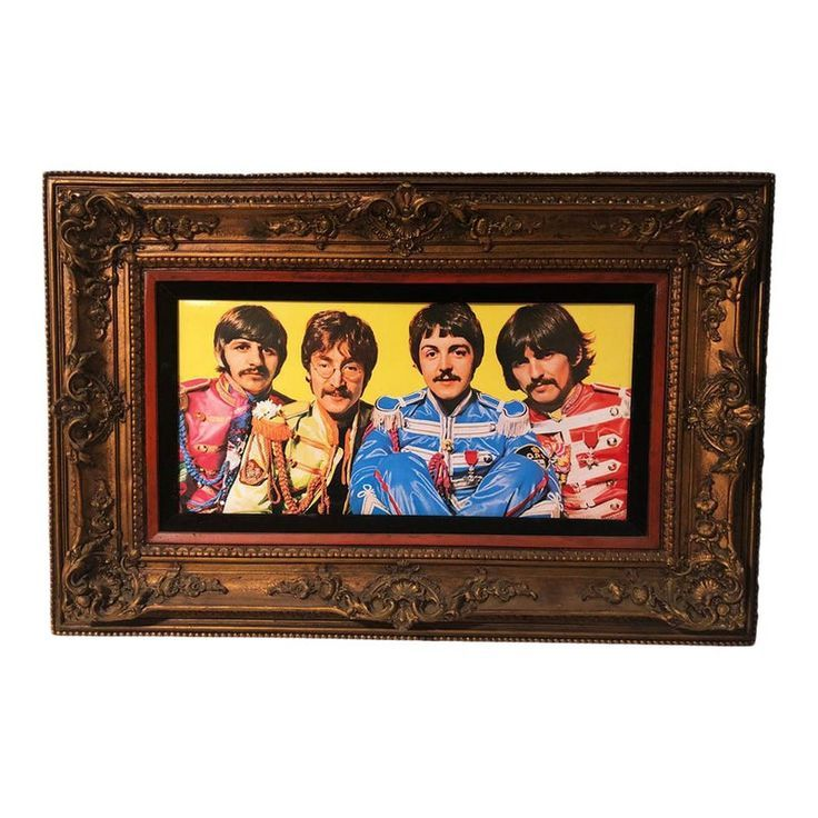 Antique Large Ornate Victorian Mirror W the Beatles Sgt Peppers Print  Products