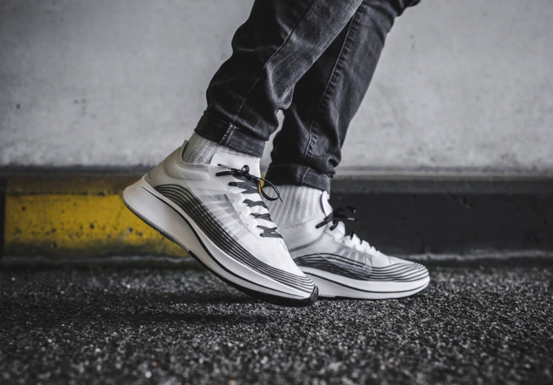 f7932eaea88 The NikeLab Zoom Fly White Black edition is featured in a lifestyle ...