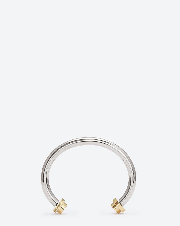 Saint Laurent Le Deux Clous Bangle In Sterling Silver And Vermeil $1,245