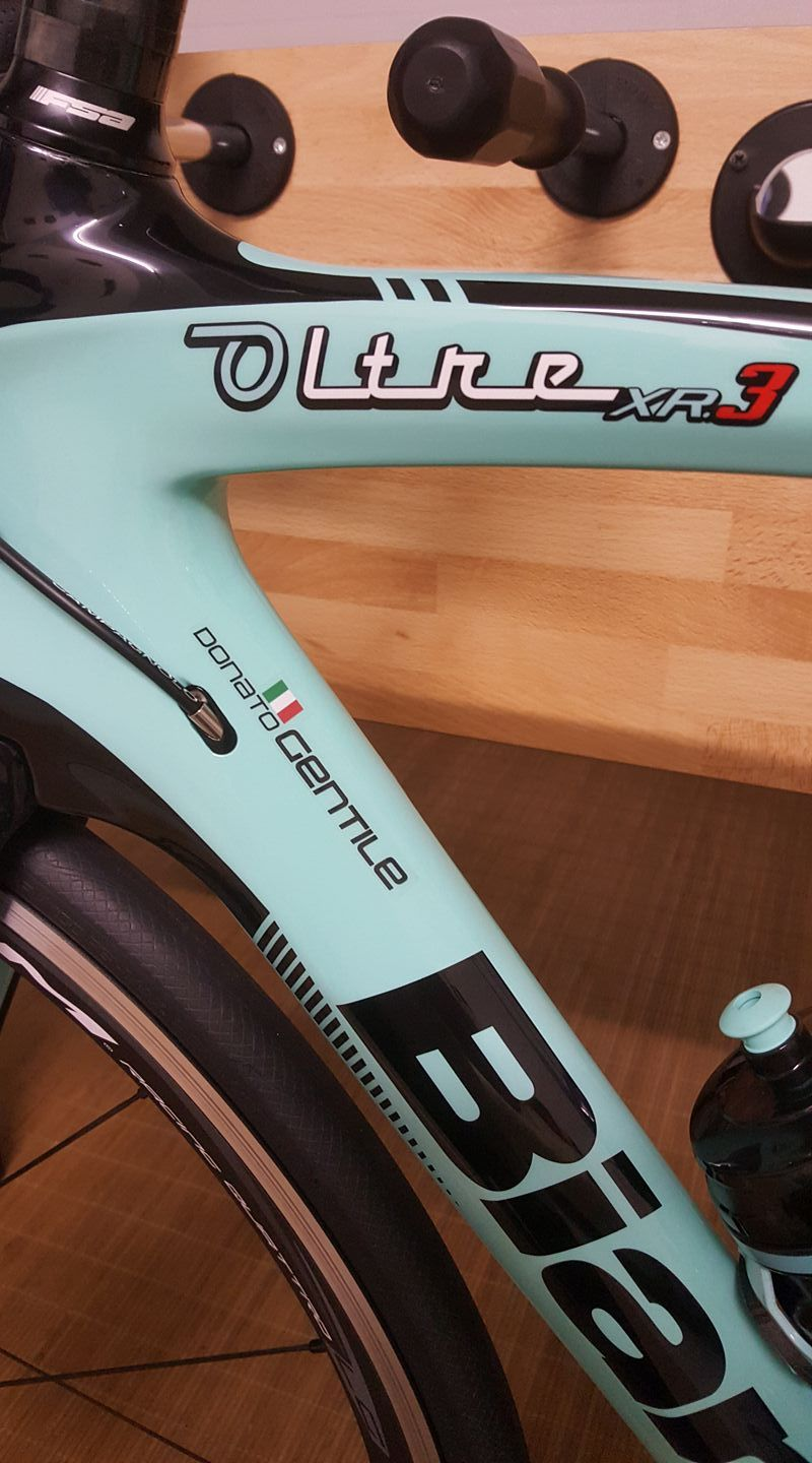 Our custom made sticker with name and flag on italian road bike bianchi