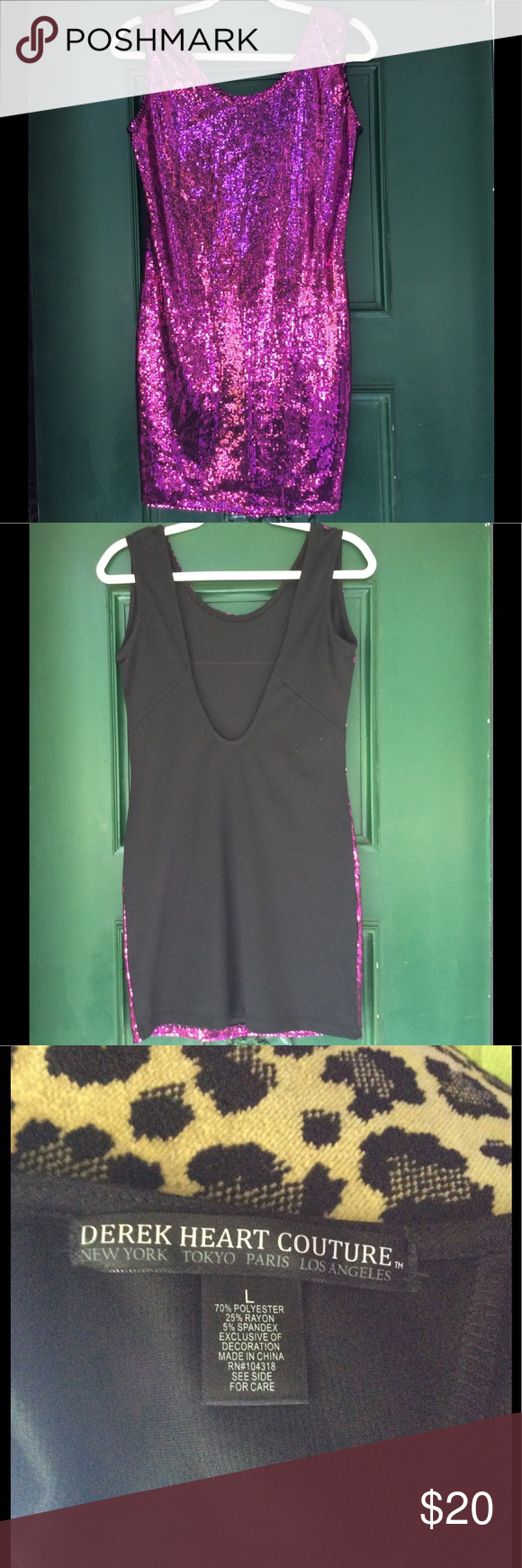 💜Purple Tiger Print Sequin Mini Dress 💜 This dress is begging to go to the club, go to Vegas, a cruise or a fun night out. It is like new and stretchy. No pets no smoking. It is 34 inches in length. At full stretch it is 23 inches across the chest  so could go up to 46 inches at capacity. Derek Heart Dresses Mini