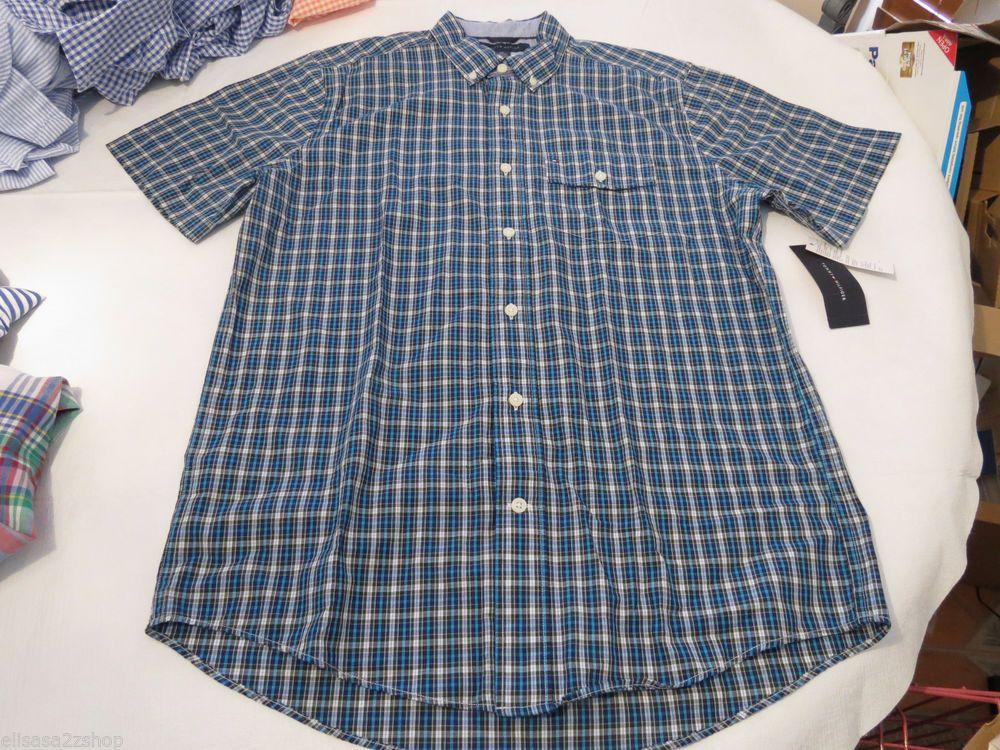 Men's Tommy Hilfiger short sleeve shirt button up 7854828 Rhinestone 392 XL #TommyHilfiger #ButtonFront