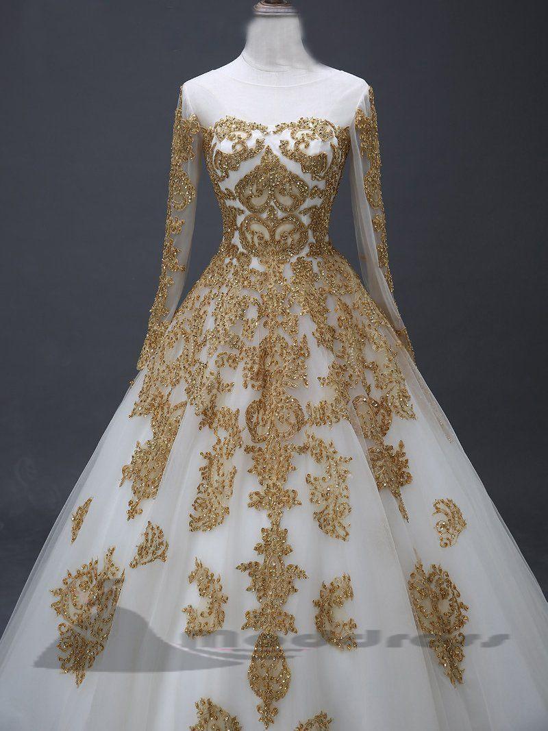 Chic long prom dresses scoop applique wedding dress long sleeve