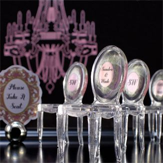 """If I cant get my ghost chairs to sit on I'll take these. """"Ghost"""" Chair Favor Place Cards (Set of 8)   Wedding Place Card   Navy & Lavender"""